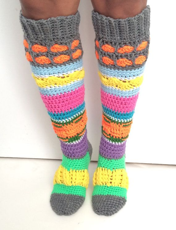 Colourful Crochet Knee High Socks Crochet Hippie Socks Small