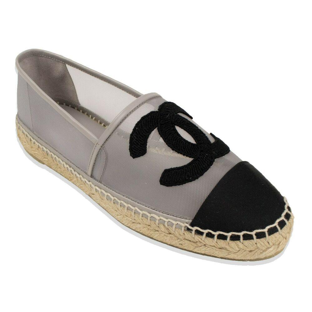 a9b92f7fd eBay #Sponsored NIB CHANEL Gray Mesh And Grosgrain Logo Espadrilles Flats Shoes  Size 10/41