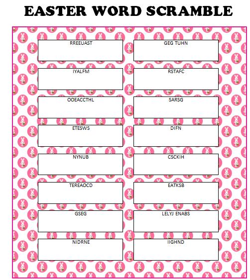 Easter Word Scramble (Free Printable | Easter games, Easter ...