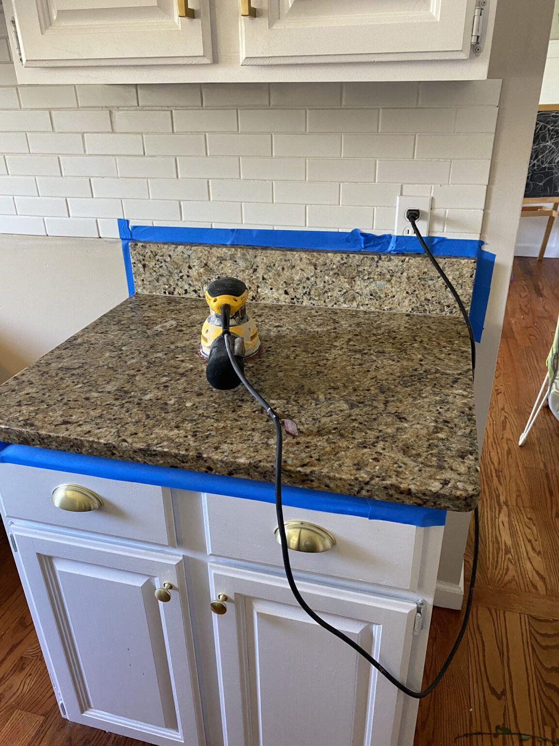 Appliance Epoxy Kitchen Counter Makeover Full Hearted Home In 2020 Countertop Makeover Kitchen Counter Leather Granite
