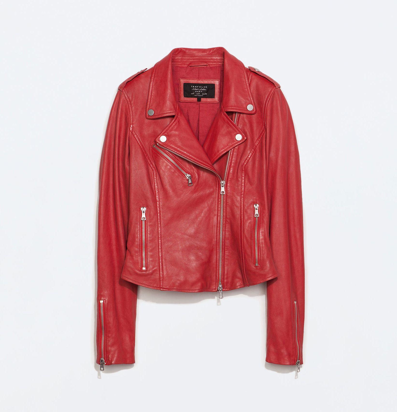 CHAQUETA DE CUERO ROJA STRADIVARIUS  chaqueta  chaquetadecuero  cuero   stradivarius 00e51b6c2368