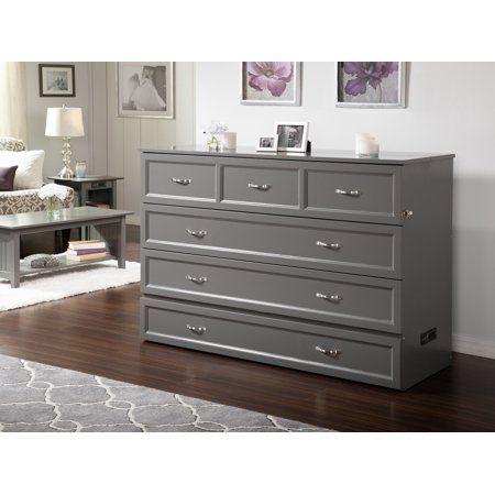 Deerfield Murphy Bed Chest Queen Atlantic Grey With