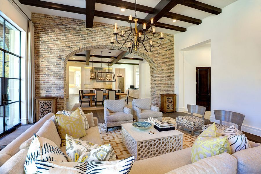 Reclaimed Old Chicago Brick Is Perfect For The Mediterranean Style Interior Design Mediterranean Styles Interior Interior Wall Design Small Living Room Design