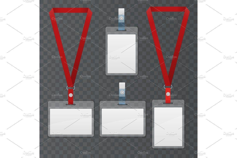 Set of lanyard and badge. Template Plastic Badge Identification Set ...