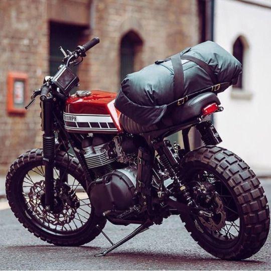 Hinckley Triumph Custom With Vintage Dirt Bike Style Tank Yamaha