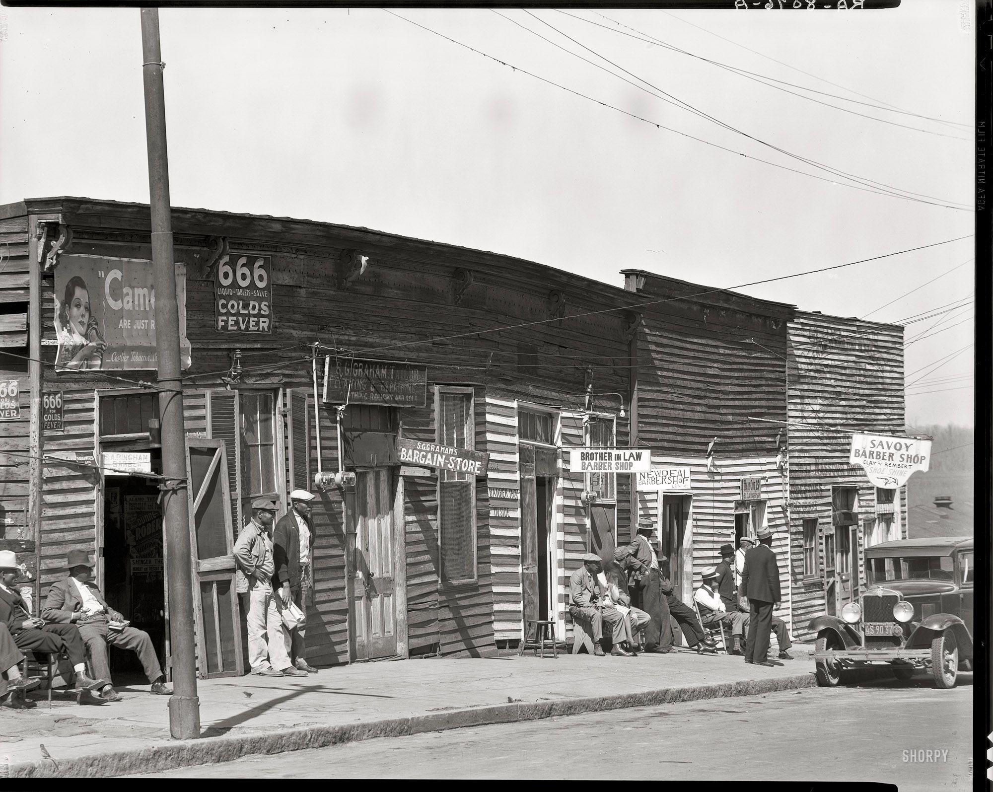 Historic Photo Print Miss African American Barbershop Row Vicksburg - 1936
