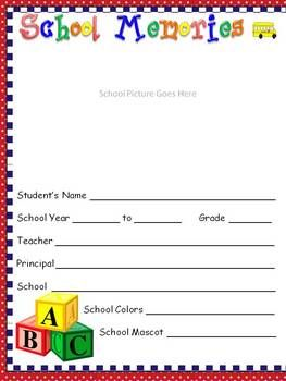 FREE DOWNLOAD! This memory book come with 27 pages, including colorful covers for each grade, K-5. Keep your kids busy the last days of school and ...