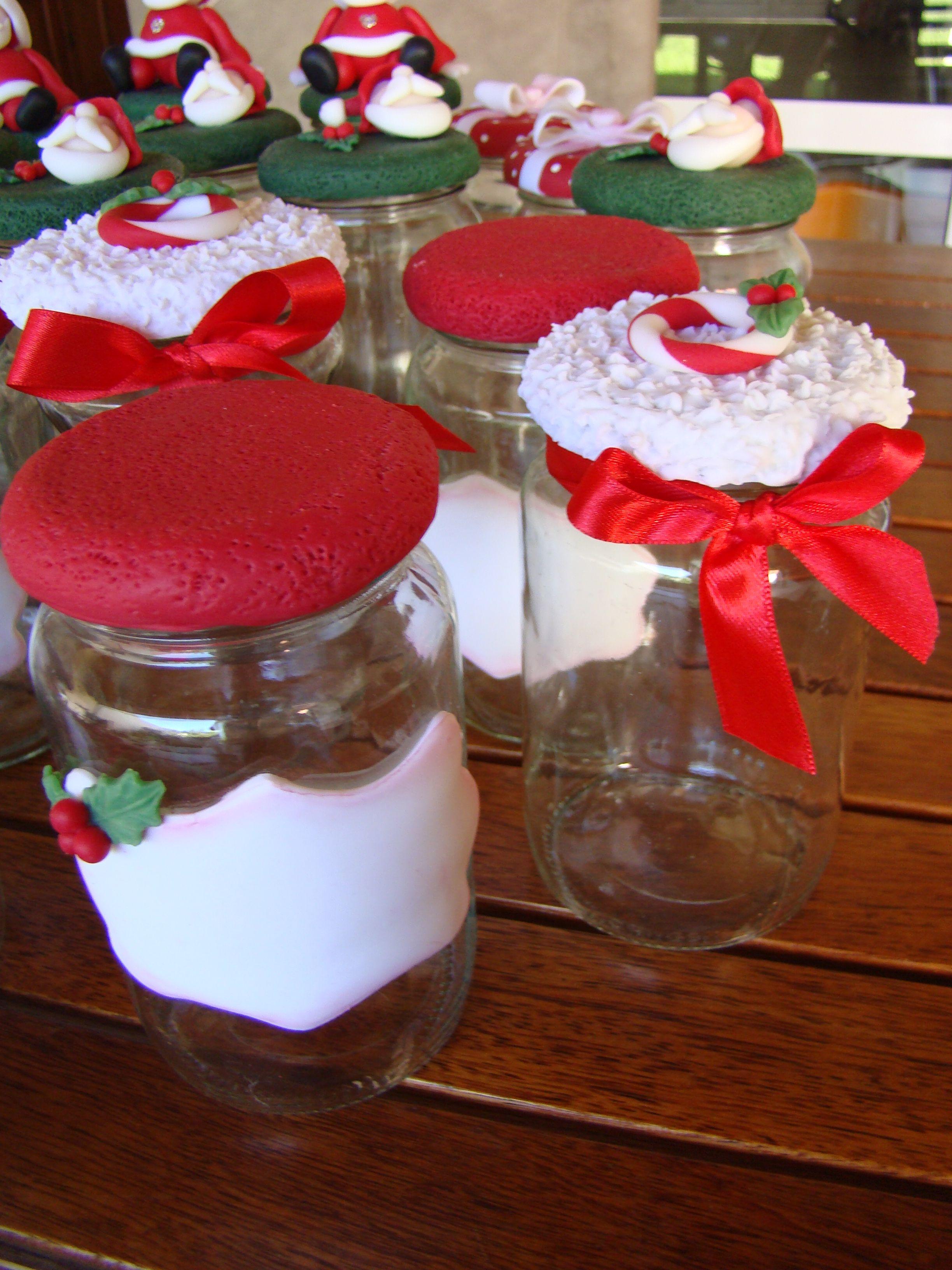 Frascos decorados con porcelana fria navide os for Manualidades souvenirs navidenos
