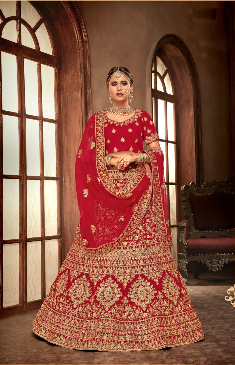 714e8f06c64f1 Beautiful Heavy Embroidered Velvet Bridal Wear Lehenga in 2019 ...