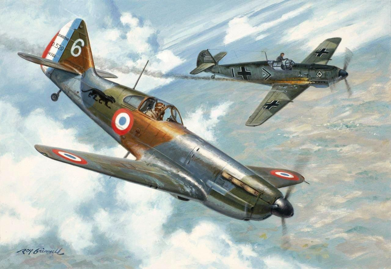 Victory at Compiegne, by Roy Grinnell (D 520 vs Bf 109E)