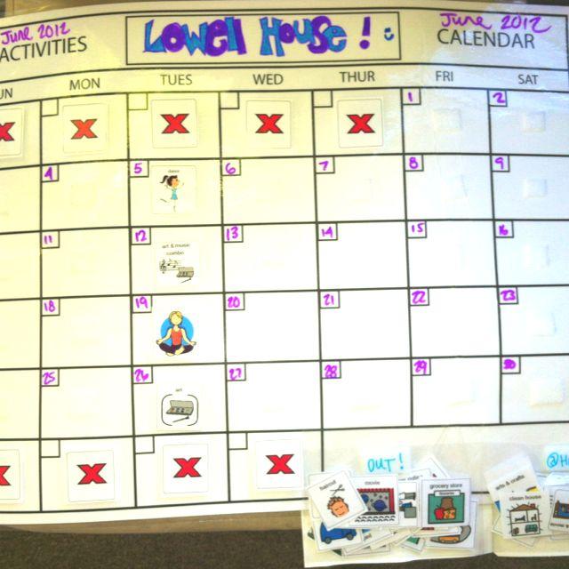 Activity calendar w\/ choice PEC cards\/Velcro Tiger c - pecs - activity calendar