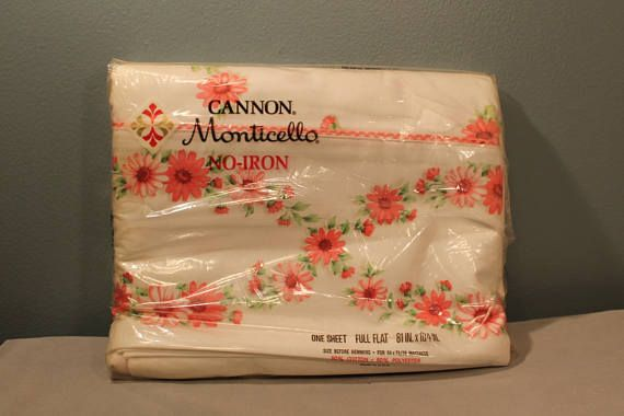 Vintage Cannon Mills Stay Fresh Fl Print Sheet Includes One Full Size Flat 81 By 104 Inches 50 Cotton Polyester Made In The Usa