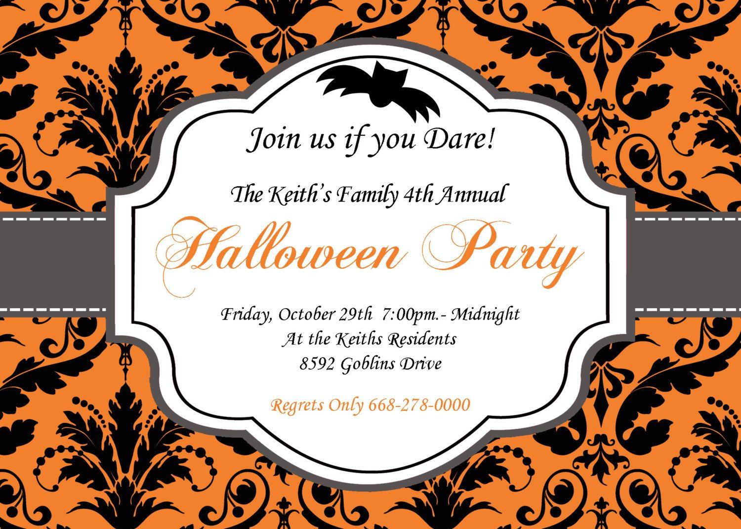 DIY Halloween Elegant Party PRINTABLE Invitation 5x7 Orange black – Costume Party Invitations Free Printable