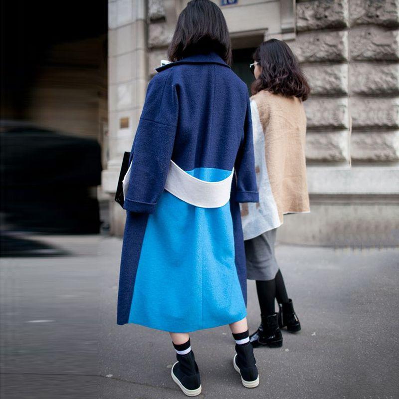Pin By Iffah Fathin On Style: Fashion Lapel Color Block Windbreak Coat