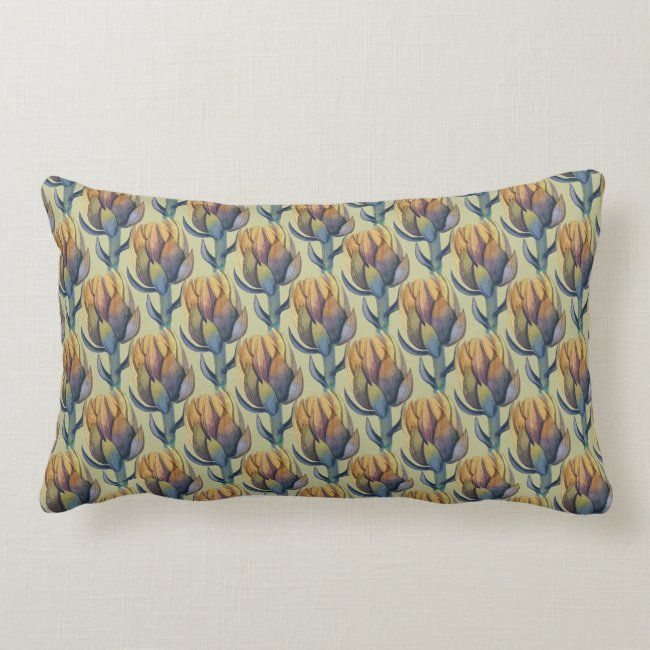 Artichokes Watercolor Lumbar Throw Pillow #zazzlemade #contemporary #seamless #sage #artichoke#botanical #gifts #gardenstyle #flowers #vintage #floral