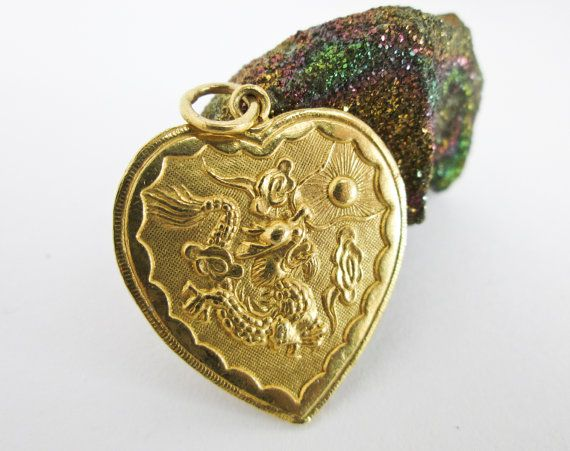 Large 1960s Chinese Dragon Phoenix Heart Pendant Matrimonial Yin
