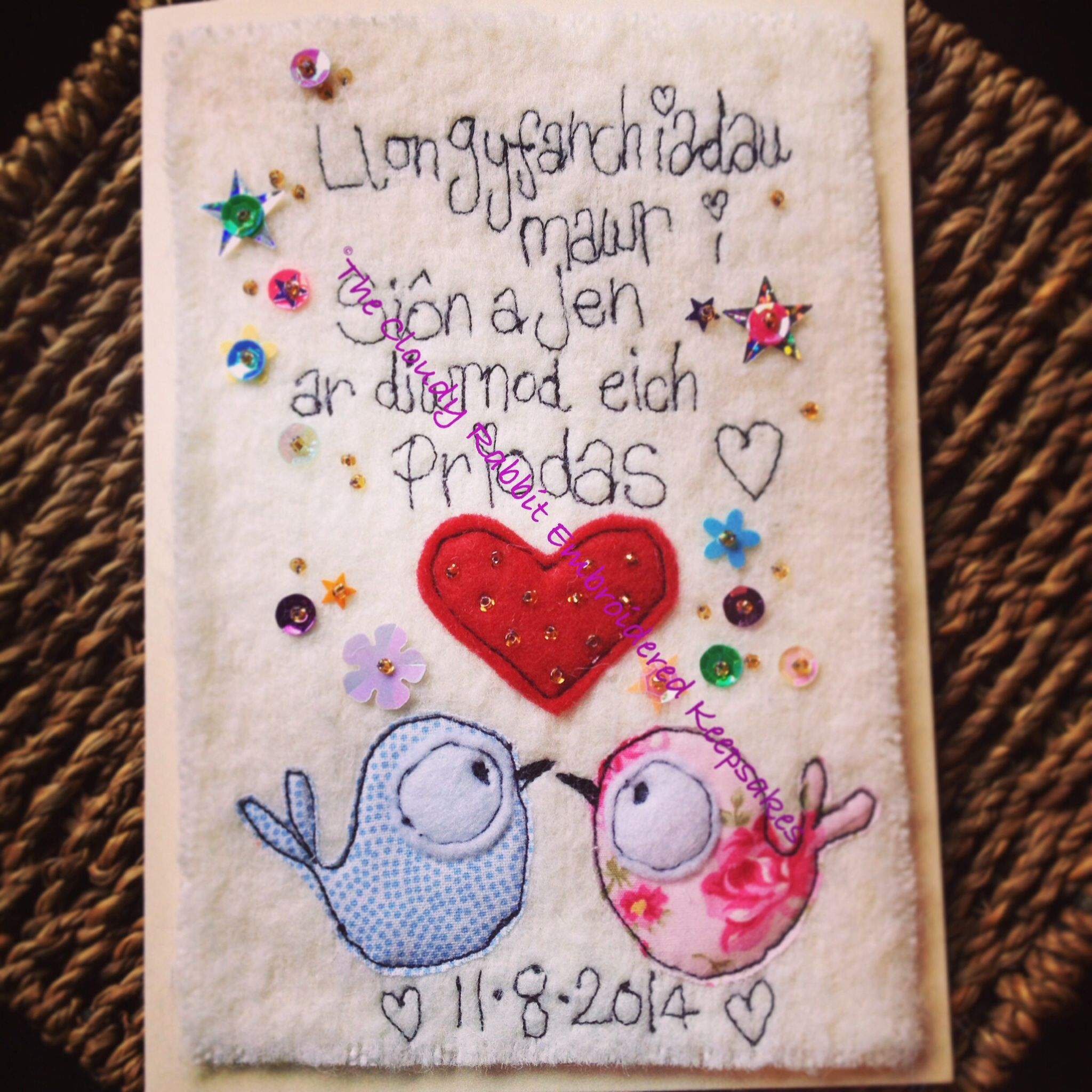 A Wedding Card Made With Welsh Txt It Reads Congratulations Sion