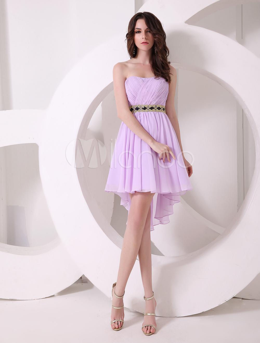 Vestido de cóctel de gasa de color lila con escote de corazón de ...