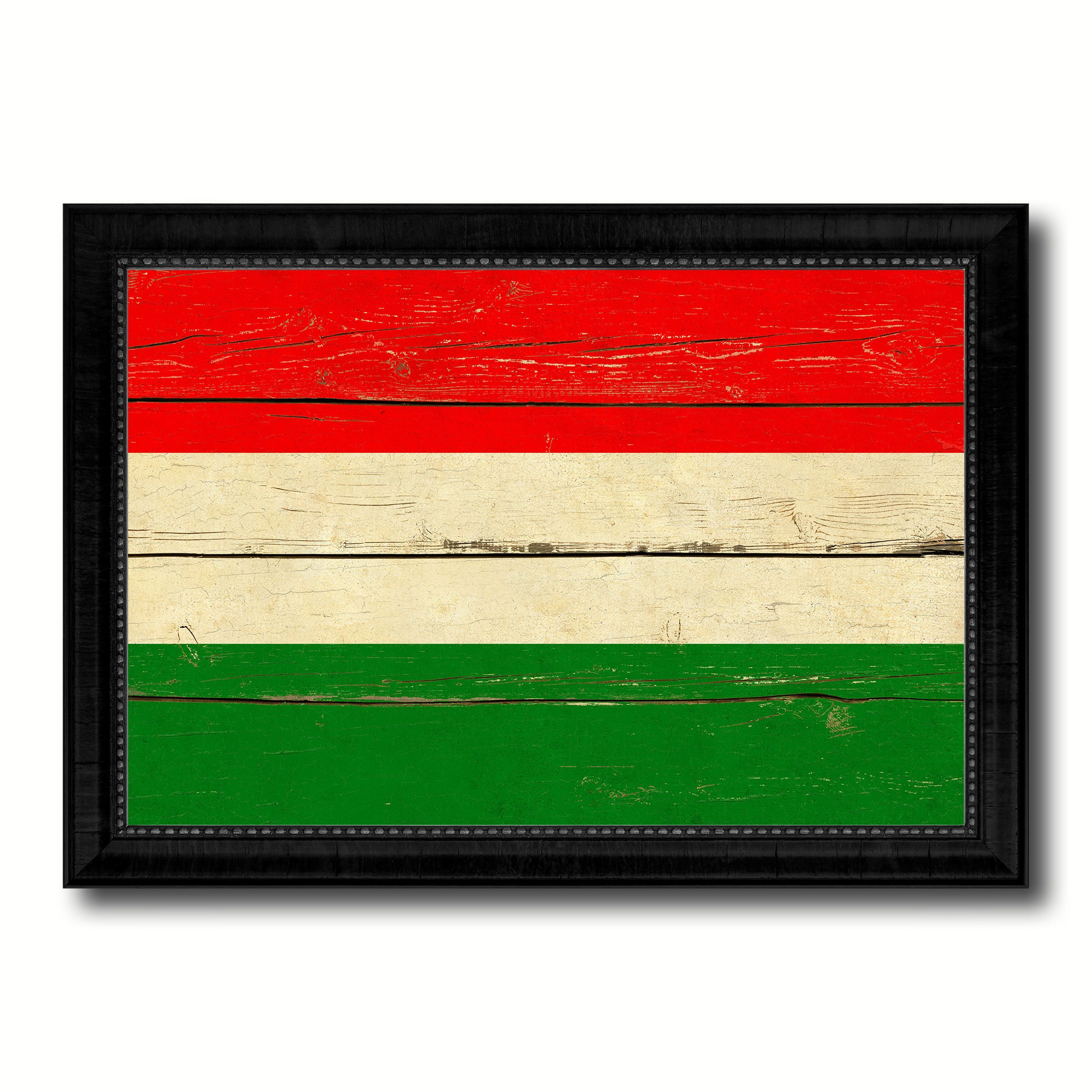 Hungary Country Flag Vintage Canvas Print with Black Picture Frame ...