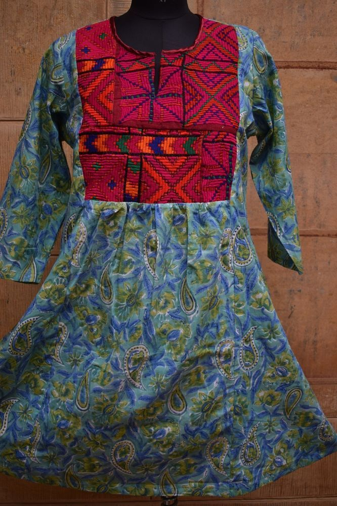 Vintage Hippie Boho Block Print Banjara Women Hand Embroidery Mirror Work Dress Handmade