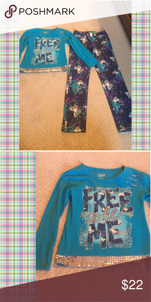 Justice matching jeans and top, size 8 Justice butterfly jeans and Free to be Me matching top. Glitter and sequin accents. Shirt sz 8 and jeans 8R. Justice Matching Sets