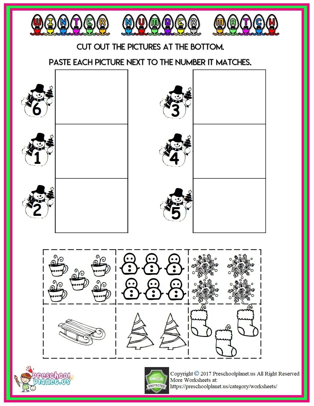Winter Count Number Worksheet