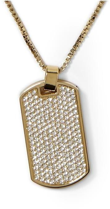 Michael Kors Pave and Horn Dog Tag Necklace