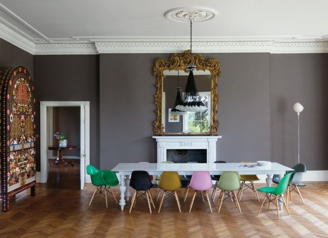 klassisch modern Stilmix Esszimmer Parkettboden Esszimmer - wohnzimmer klassisch modern