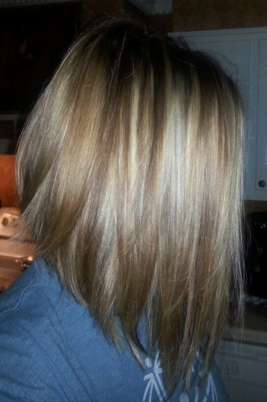 Medium Length Inverted Bob With Lowlights And Highlights Me