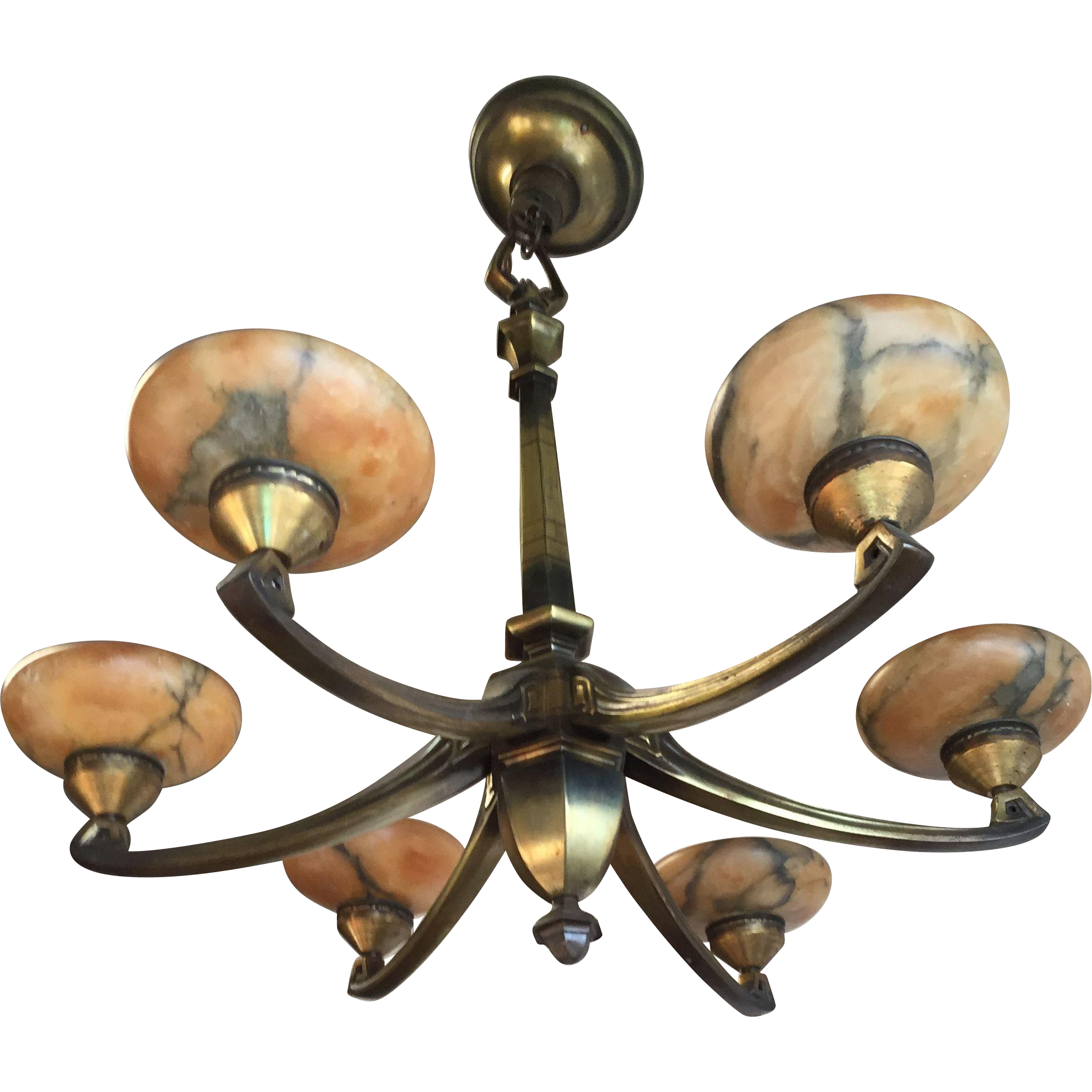 Attic Find Bronze Art Nouveau Chandelier With Amber Glass Shades From France