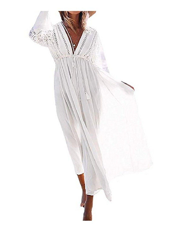 3894691e7d2fa Women's Clothing, Swimsuits & Cover Ups, Cover-Ups, Women's Rayon Lace Swimsuit  Cover Up Tunic Long Maxi Dress - White - CB185X4YM9Z #fashion #Swimsuits ...