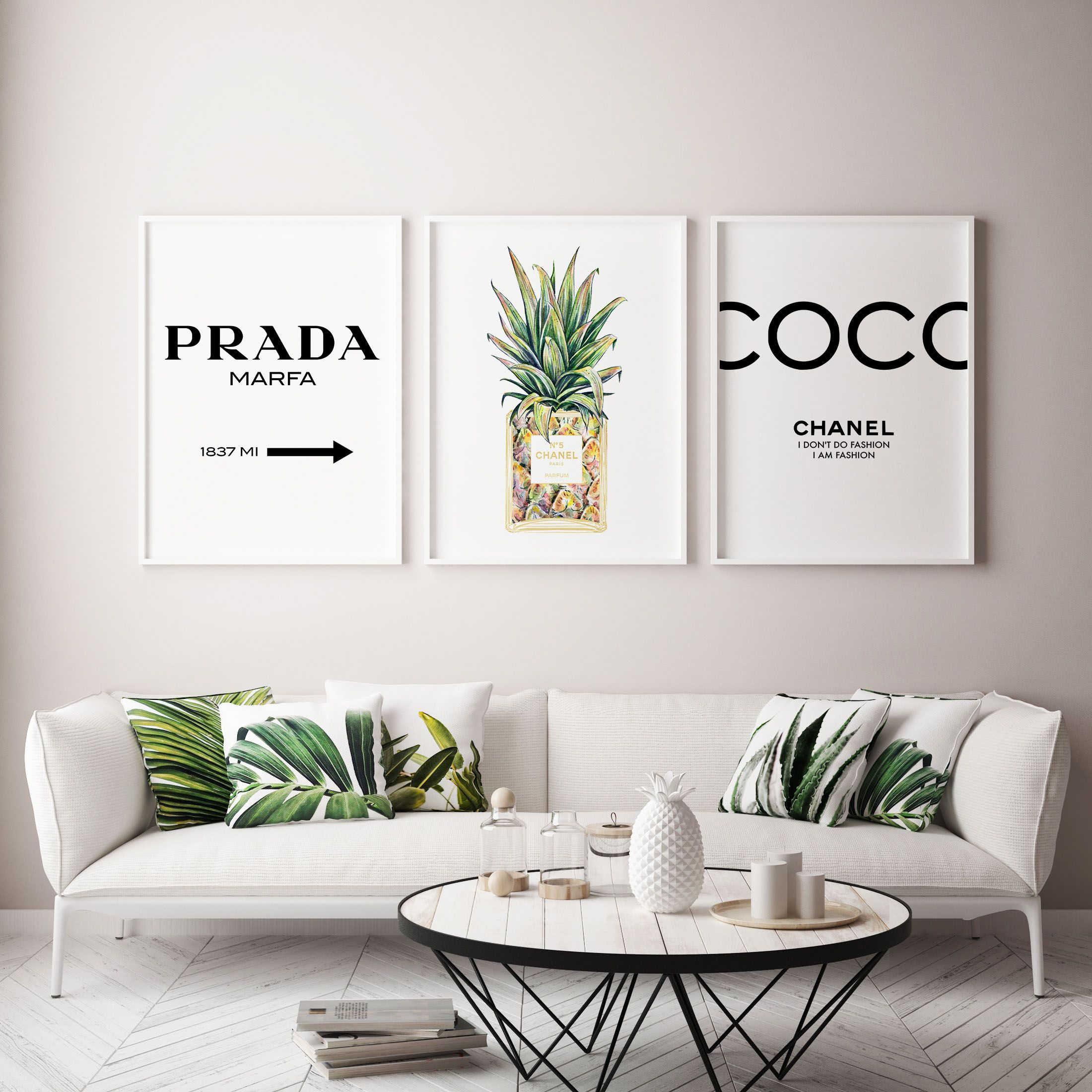 Coco Chanel Pineapple Inspired Art Tropical Framed Wall Art Chanel Wall Decor Tropical Wall Decor Tropical Home Decor