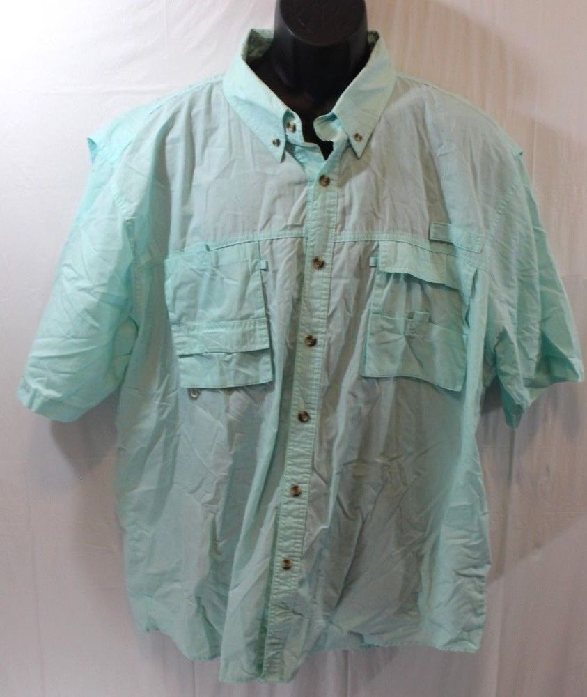 Rugged Earth Shirt Mens L 2xl Green Teal Vented On Front Short Sleeve Ruggedearthouters