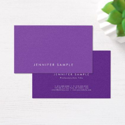 Elegant Purple Modern Design Pearl Finish Luxury Business Card - Sample Cards
