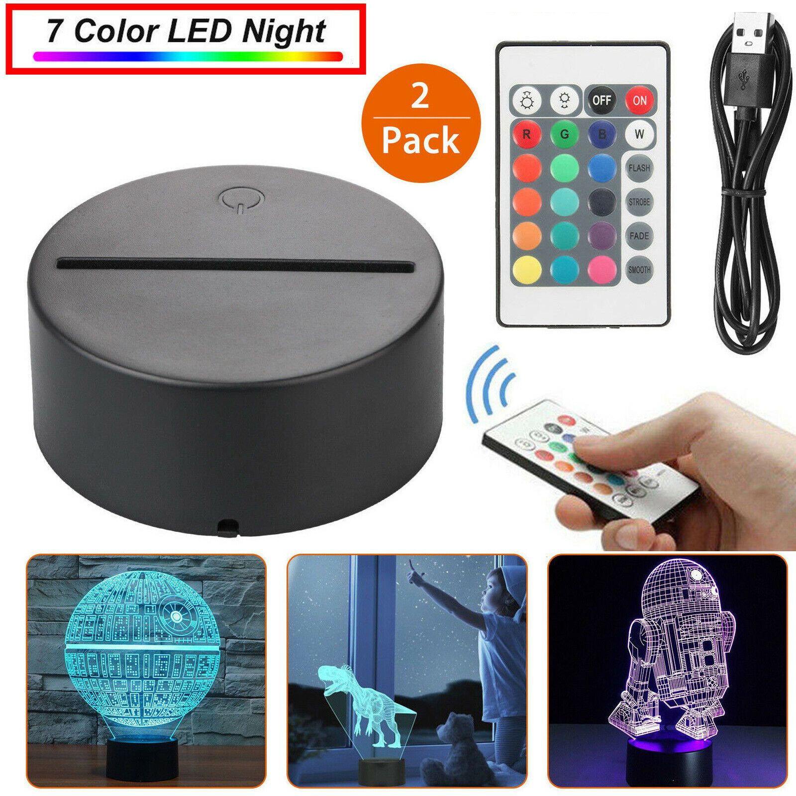 Details About 1 2x Led Lamp Base 3d Night Light Acrylic Plate Panel Holder Remote Usb Cable In 2020 3d Night Light Lamp Bases Night Light