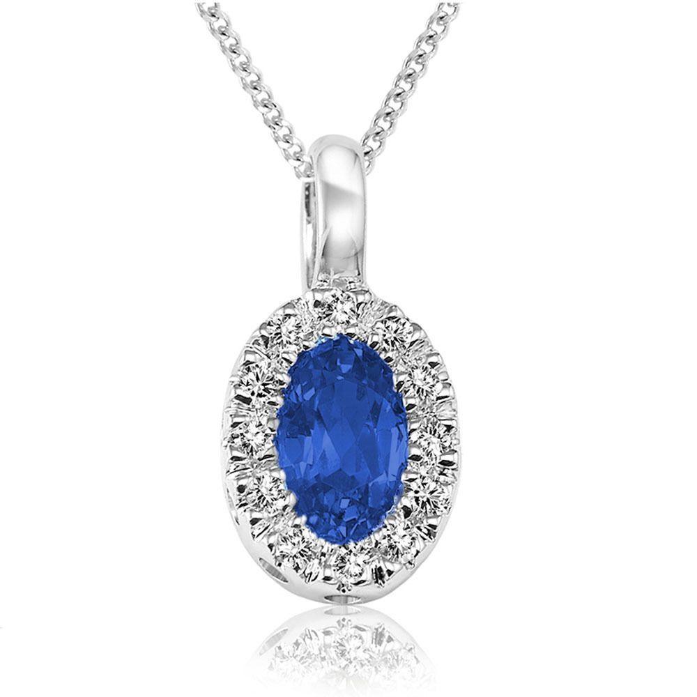 K white gold oval blue saphire diamond accent pendant inch