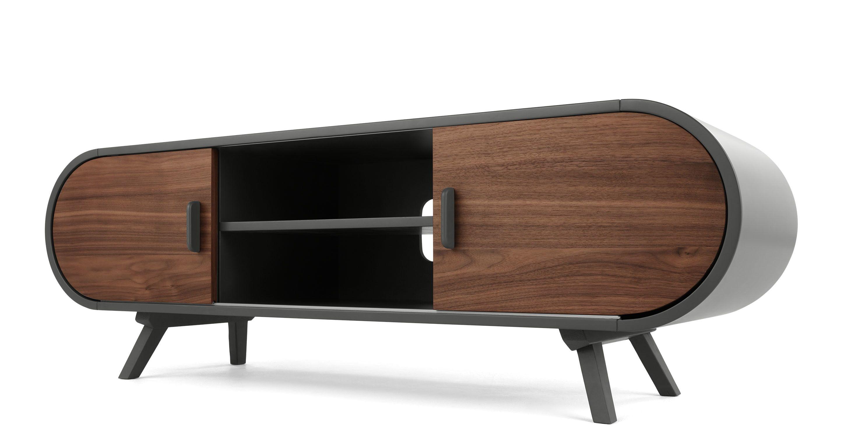Made Walnut Grey Media Unit Mid Century Modern Furniture