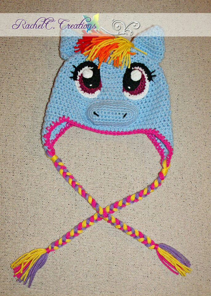 My Little Pony- Rainbow Dash Inspired Crochet Ear-flap Hat by ...