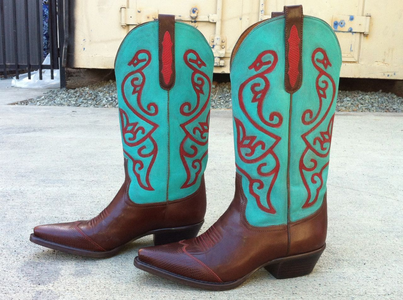 82465fa25b5 Hand-painted cowboy boots, painted with Annie Sloan's Chalk Paint®  decorative paint, in Florence & Emperor's Silk. They still feel like leather !
