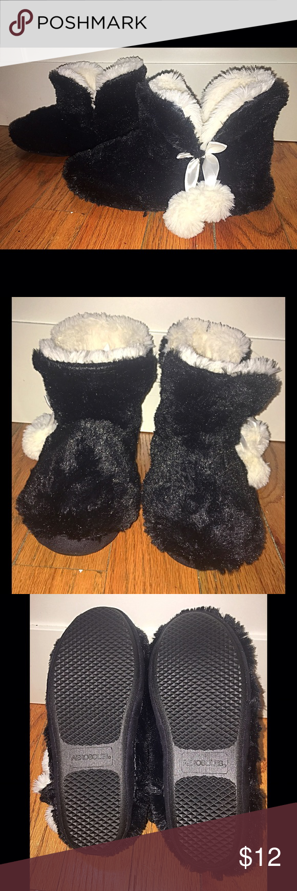 Booties Slippers! Black booties slippers. Very soft, comfortable and warm slippers. Got these as a gift. Never worn just tried on. So they're basically new just without the tag. Zoom in for details :) AEROSOLES Shoes Slippers