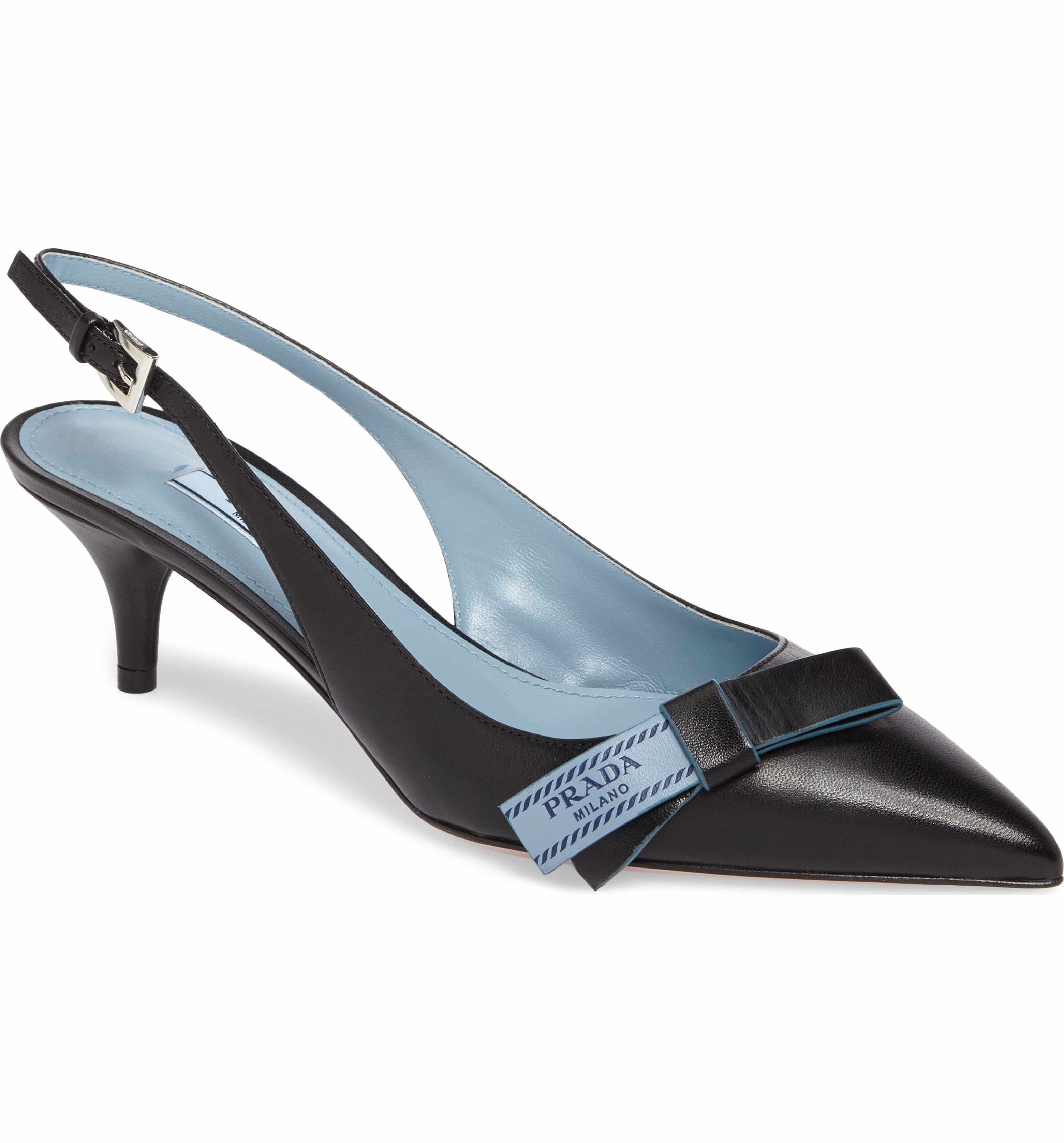 0909d013bd7 Prada Logo Bow Slingback Pump (Women) Slingback Shoes