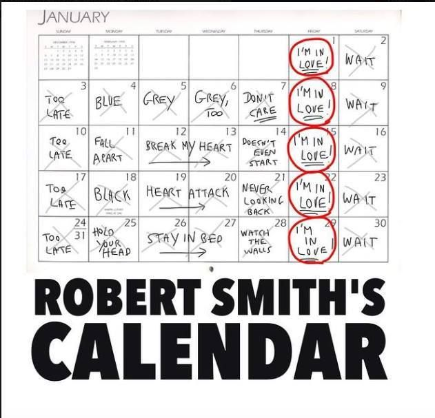 Robert Smith Calendar With Images The Cure Lyrics Friday Im