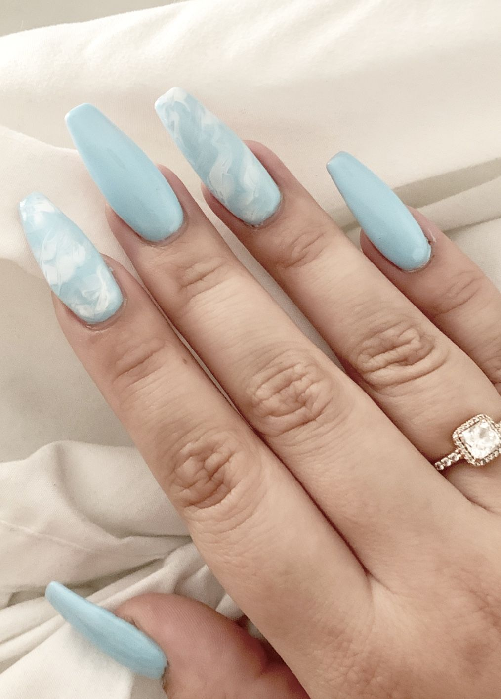 Cloud Coffin Nails In 2020 Acrylic Nails Coffin Short Fire Nails Acrylic Nail Designs