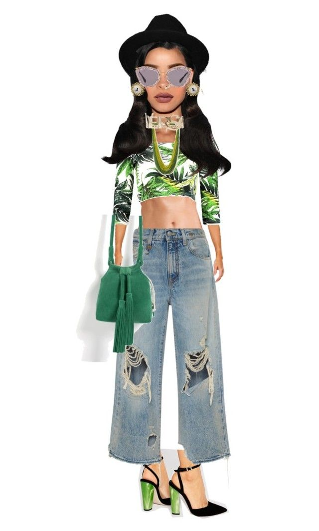 """""""#Mighty"""" by telag on Polyvore featuring ASOS, R13, Boohoo, Kendra Scott, Forever 21, Versace, Bandolera, H&M and Miu Miu"""