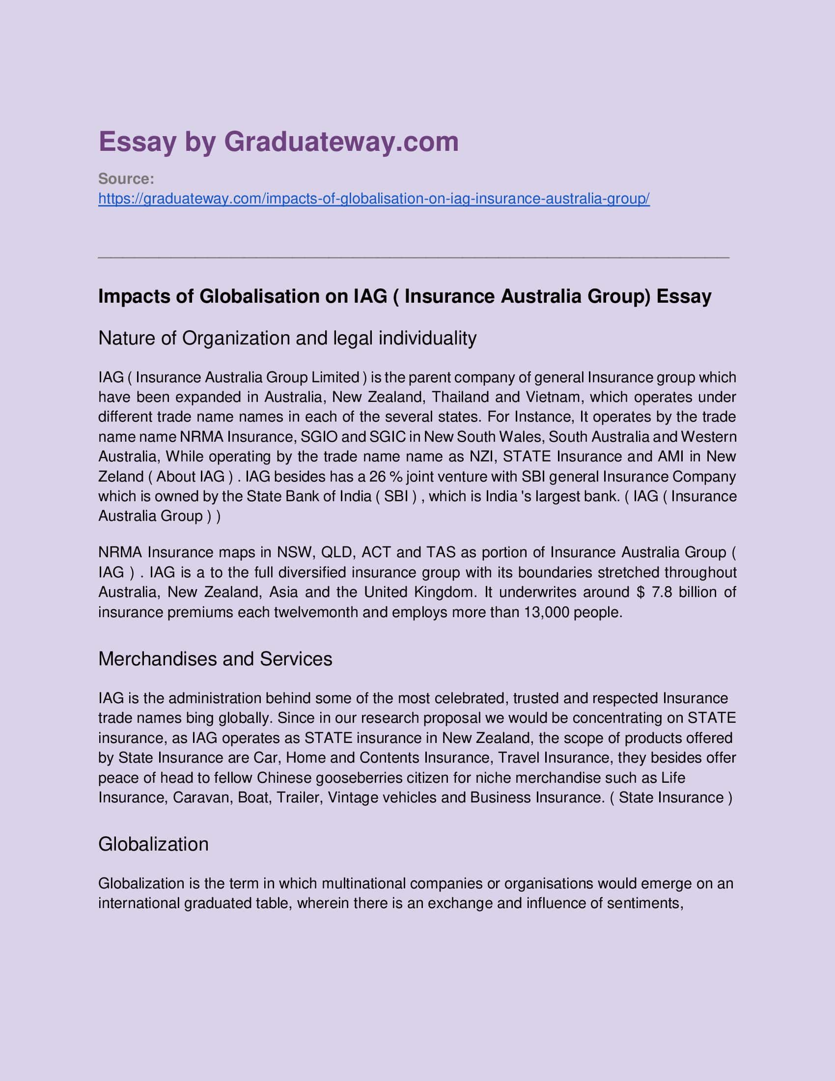 Impacts Of Globalisation On Iag Insurance Australia Group Essay