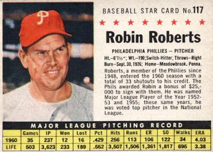 Post Cereal Baseball Cards 1963 Card Robin Roberts Card