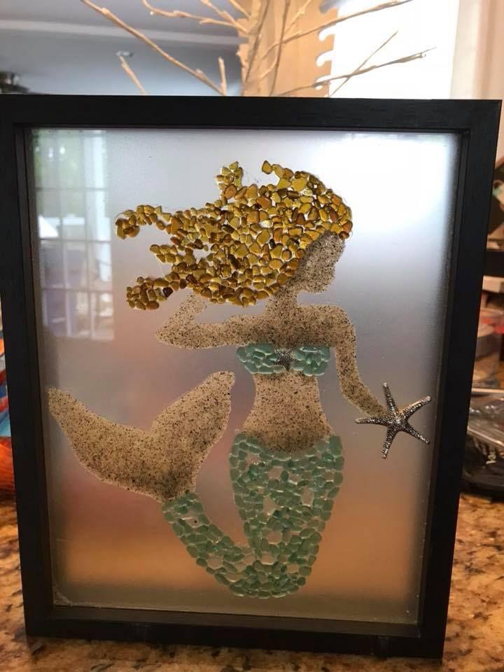 Sea glass sand mermaid crafts pebble art sea glass