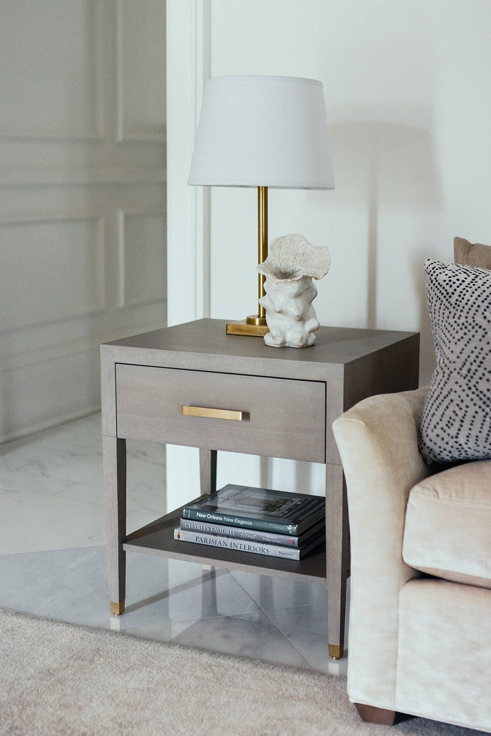 Carlyle End Table Grey Bedside Table Decor Side Tables