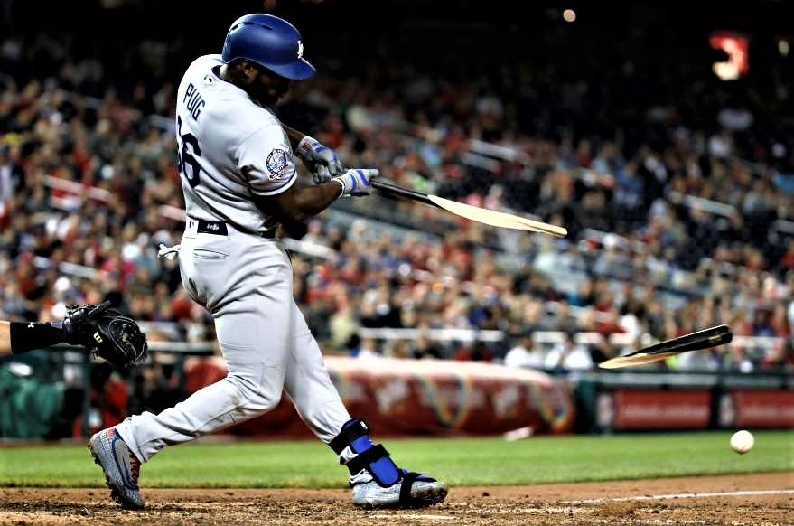 Breaking Bat The Dodgers' Yasiel Puig breaks his bat