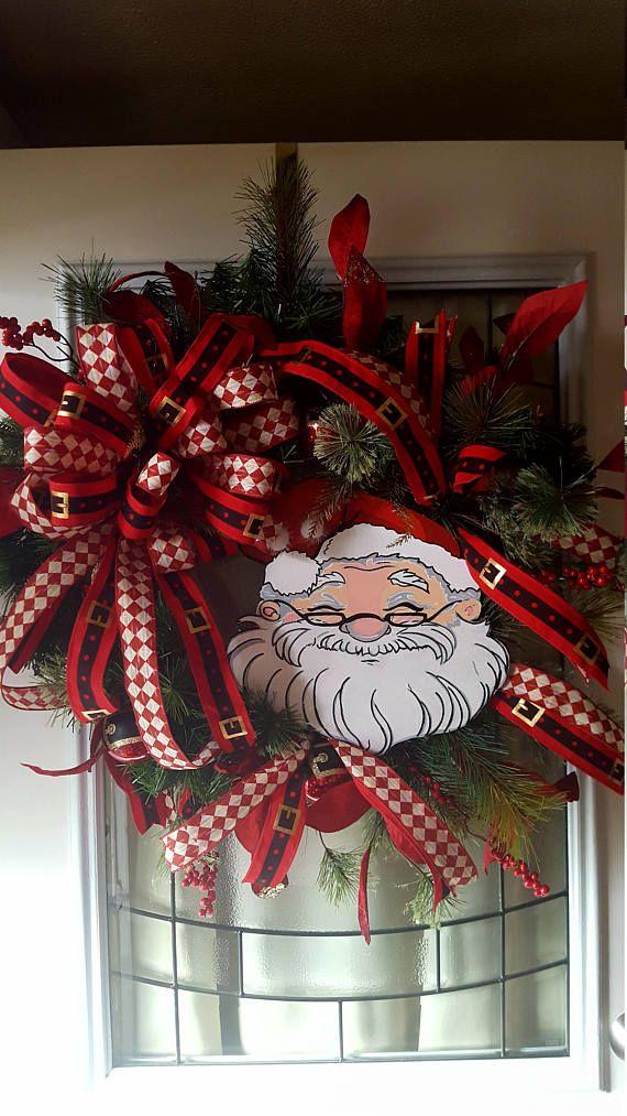 Beau Christmas Wreath Santa Wreath Large Door Wreath Christmas